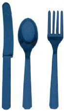 18 Piece Royal Blue Party Plastic Cutlery Set